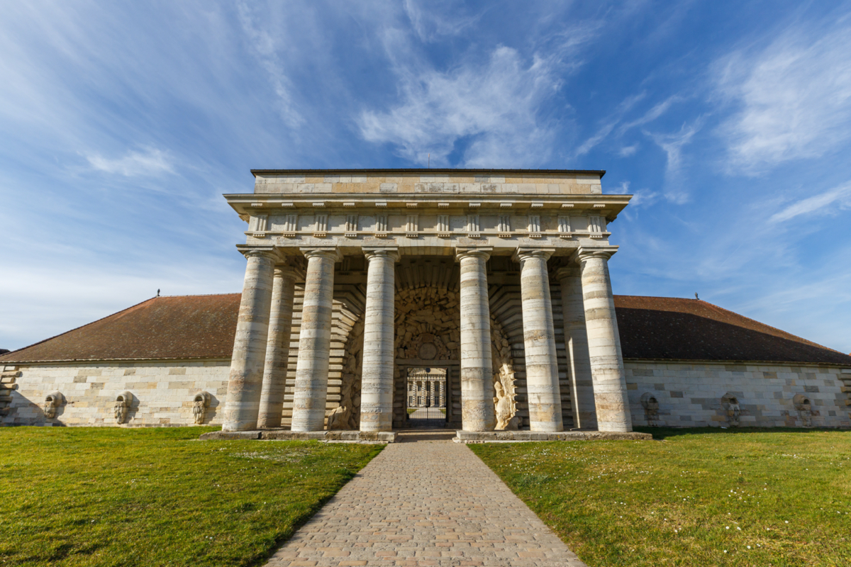 Entrance, Saline royale d'Arc-et-Senans, France. Claude-Nicolas Ledoux, 1785–8.